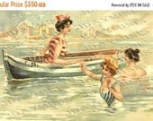 ON SALE Seaside Frolic, Beach  gift tag - Italian Postcard - Instant Digital Download FrA108
