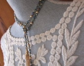 Aurora Borealis Crystal Lariat Gold Fringe Tassel Necklace