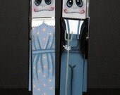 """Pair of 10"""" AMERICAN GOTHIC Ghoul Clips - Grant Woods Design - Recipe Holder - Clothespin Clips - Tole Painting - Hand Painted - Halloween"""