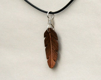 Handcarved Black Walnut Wood Feather / Leaf Pendant  J160335