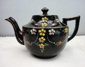 Sadler Black Redware Teapot - Burslem England - Raised Floral Design - 4 Cup - 1930's