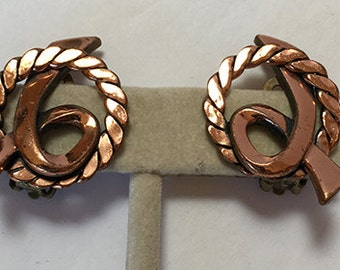 Copper Color Twisted Wire Accent Vintage Clip Style Earrings