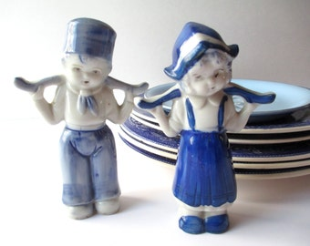 Vintage Blue and White Dutch Boy and Girl Figurines - So Kitsch So Cute