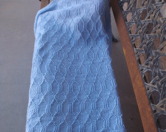 Blue knit baby blanket/hand-knitted blue baby blanket/large baby blanket/heirloom blanket/baby shower gift/new baby boy/gift/washable/baby