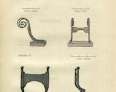 Vintage Engraving Architectural Plate Foot Boot Scrapers Ironwork  Mansion House John Stuart East Battery  Charleston South Carolina