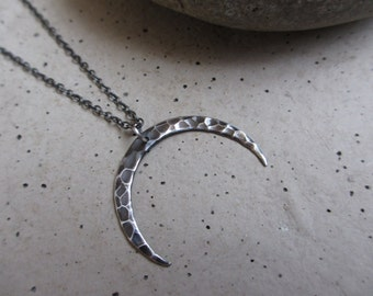 Oxidized Moon Necklace, Crescent Moon, Inverted Moon, Sterling Silver, Hammered, Silver Necklace, Celestial, Inverted, Irisjewelrydesign