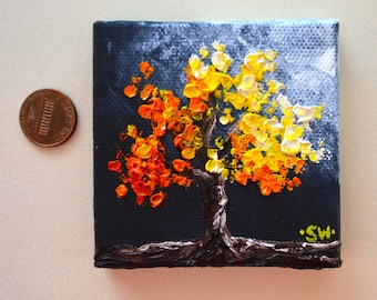Tiny art, Miniature, Fall Yellow Tree night sky, Miniature Original Oil Painting, Dollhouse Art, American Girl Doll, 3""