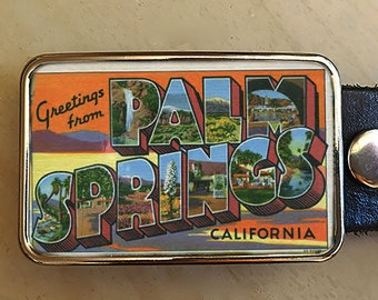 Palm Springs Belt Buckle for men and women.  Vintage Ad.  Art deco belt buckle.  Gift for travelers.