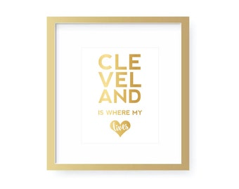 Gold Foil Print - City Love - Heart - Custom -  ANY CITY - 8 x 10 - InkSpot Workshop - Typography Art
