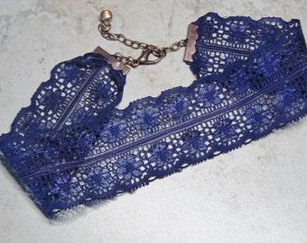 Navy Blue Lace Choker Necklace, Vintage Lace, Choker Necklace,Gift for Teen, Navy Blue Choker Necklace, Hipster, Boho,Costume Choker