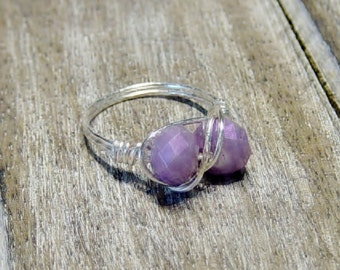 Violet Crystal Bead Ring, Silver Wire Wrapped Ring, Bead Ring, Violet Ring, Purple Ring, Silver Ring, Purple Bead Ring