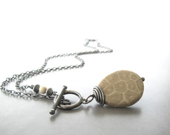 fossilized coral pendant, fossil and silver necklace, sterling chain, rustic jewelry