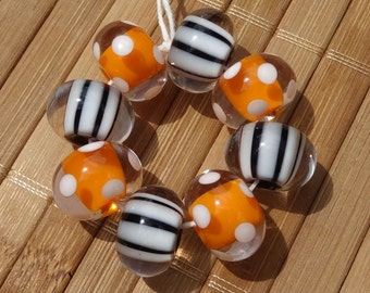 Orange and White Polka Dot and Black and White Striped BeadsHandmade LAMPWORK Bead Set