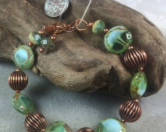 Picasso Glass and Copper Bracelet