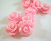 10 Pink Rose Flower Cabochon Beads Resin 10mm - No Holes - 10 pc - CA2006-P10 - Select Qty