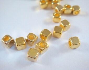 25 Gold Plated Cube Bead 4mm Tibetan Silver 2mm Hole LF/CF - 25 pc - M7021-G25
