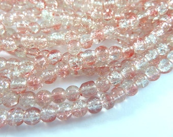 50 Pink Crackle Glass Bead Clear Transparent Smooth 6mm Round - 50 pc - G6052-PKC50