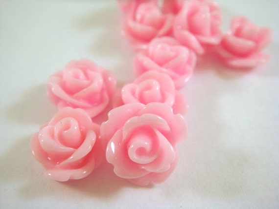 BOGO 10 Pink Rose Flower Cabochon Beads Resin 10mm - No Holes - 10 pc - CA2006-P10 -Buy 1 pk, get 1 free - No coupon required