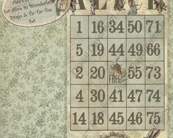 Printable DIY Party Games Bingo Alice In Wonderland Instant Digital Download Add-on Set 1 for Alice Bingo and Tic-Tac-Toe game set