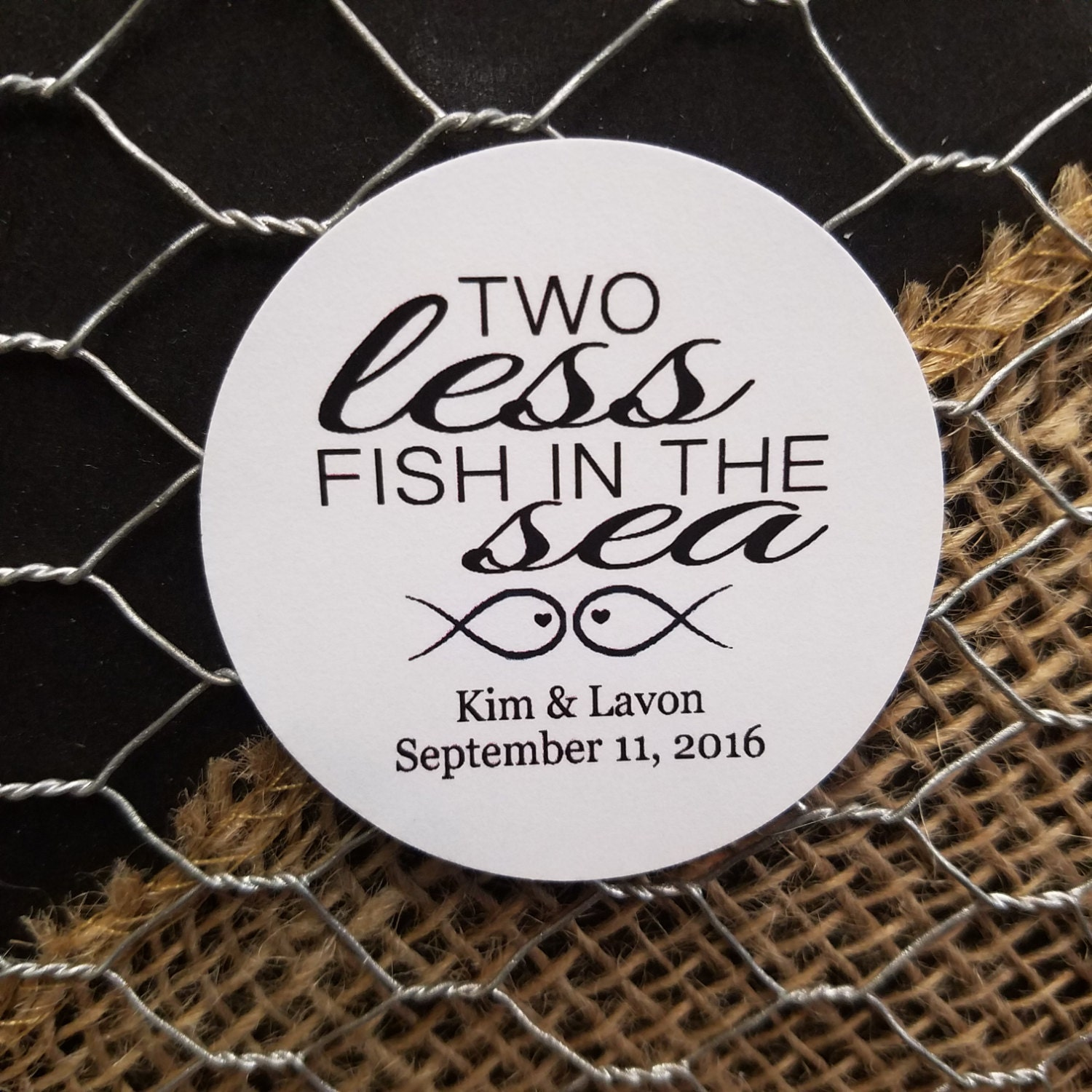 Two less fish in the sea 2 sticker personalized wedding for Two less fish in the sea