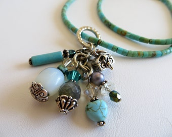 Turquoise Necklace With Gemstone Cluster Pendant