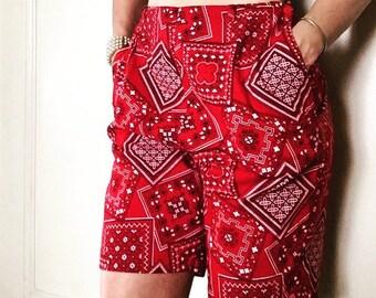 Vintage Shorts Women's High Waisted Red Bandana 1960's