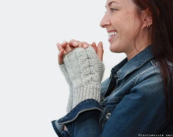 CROCHET PATTERN - Entwined Fingerless Mitts - Instant Download (PDF)
