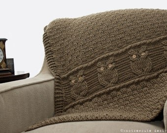 CROCHET PATTERN - Night Owl Decorative Throw - Instant Download (PDF)