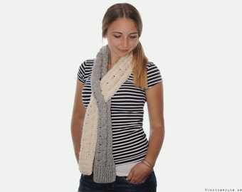CROCHET PATTERN - Cabled Keyhole Scarf - Instant Download (PDF)