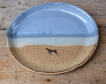 Black Dog on Beach Oval Plate