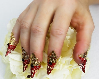 5 pcs Gold and Red Fingertip Claws with Swarovski Blood Drop, finger armor, nail armor, fairy claws, dragon claws, mermaid claws, Steampunk
