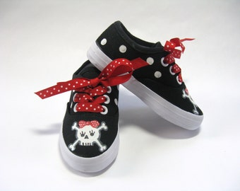 Girl's Pirate Shoes, Skull and Crossbones Black Sneakers, Pirate Theme Party or Costume, Hand Painted for Baby and Toddlers
