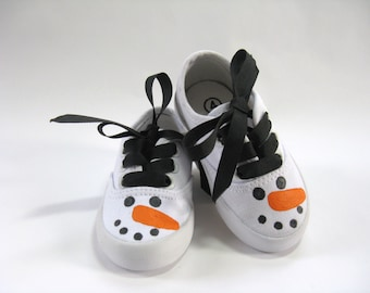 Girl's Snowman Shoes, Hand Painted Snowmen Faces on White Canvas Sneakers for Baby and Toddler