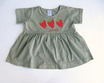 Girls Strawberry Dress, Hand Dyed Sage Green and Hand Painted Cotton Shirt or Top