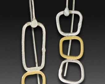 "23.5K gold and silver ""Mismatched Window Drop"" mixed metal earrings READY TO SHIP"