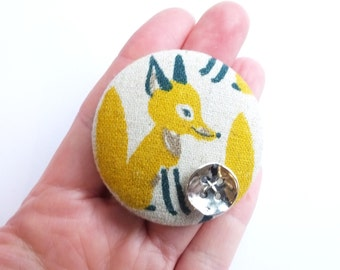 Button brooch, fox, woodland, unique, silver, handmade, collectable, funky, fabric, mustard, teal, linen, Japanese