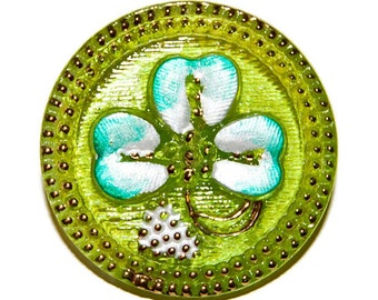 Clover Leaf  Czech Glass Button; 27mm Green Clover Leaf on Lime with Gold Details