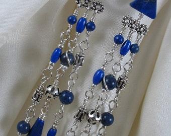 Gemstone Earrings ~ Chandelier Earrings ~ Lapis Lazuli & Sterling Silver Earrings ~ Handmade Earrings