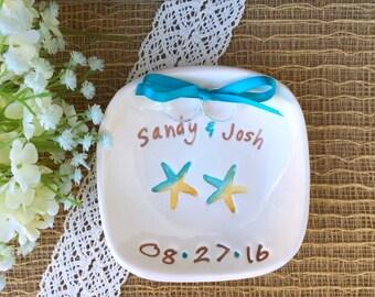 Custom Starfish Wedding Ring Holder - Beach Theme Wedding Ring Dish, Ring Bearer Pillow Alternative, Personalized Beach Wedding Ring Dish