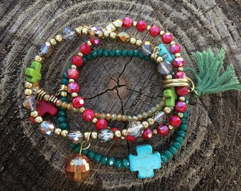 Colorful Cross Bracelet