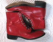red leather boots . Justin boots . red lace up boots . size 7 red boots  . Justin