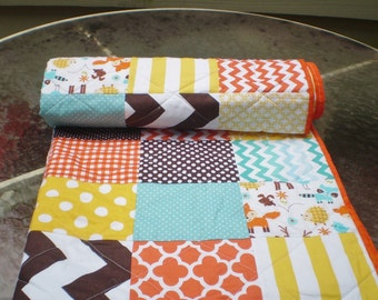 Baby quilt,rustic baby quilt,baby boy bedding,baby girl quilt,toddler,teal,orange,brown,yellow,fox,deer,racoon,chevron-Wee Woodland