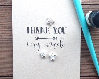 Quilled Thank You greeting card // THANK YOU ... very much // quilled stars // made in Canada