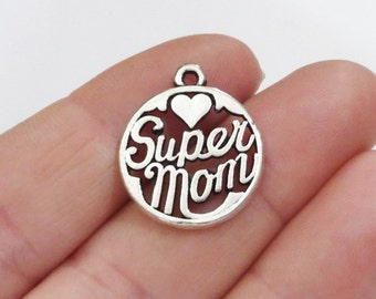 "4 ""Super Mom"" Charms 18x22x2mm, Hole: 2mm"