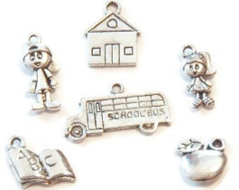 6 School Themed Charms (double sided) ITEM:V24