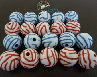 Round Acrylic Craft Beads with RED/BLUE zebra stripes, 16mm - 12x (Choose your color)