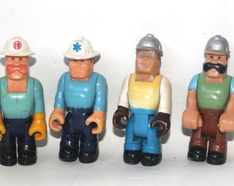 4 Vintage Fisher Price Husky Helpers figures Construction Workers Loggers Truck Drivers Bulldozer Workers