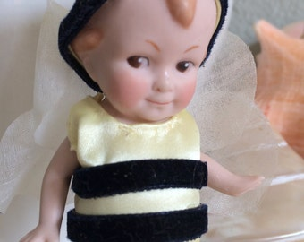 """Tiny Bisque Antique German Boy Doll 5"""" Bumble Bee"""