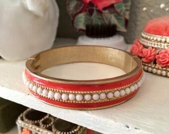 Vintage RB or BR Orange Enamel Pearl and Brass Bangle Bracelet
