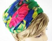 1960s Multi Colored Draped Chiffon Turban Style Pillbox Hat Sz 22